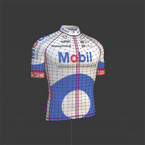 Prototype for a cycling jersey. The seams have to fit exactly the prespecified sewing pattern to the end that customized designs can be replaced easiliy by solely changing the underlying input image.